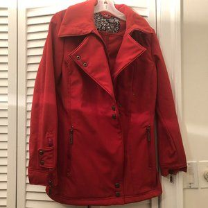 Kliq red women jacket, double breasted with front,